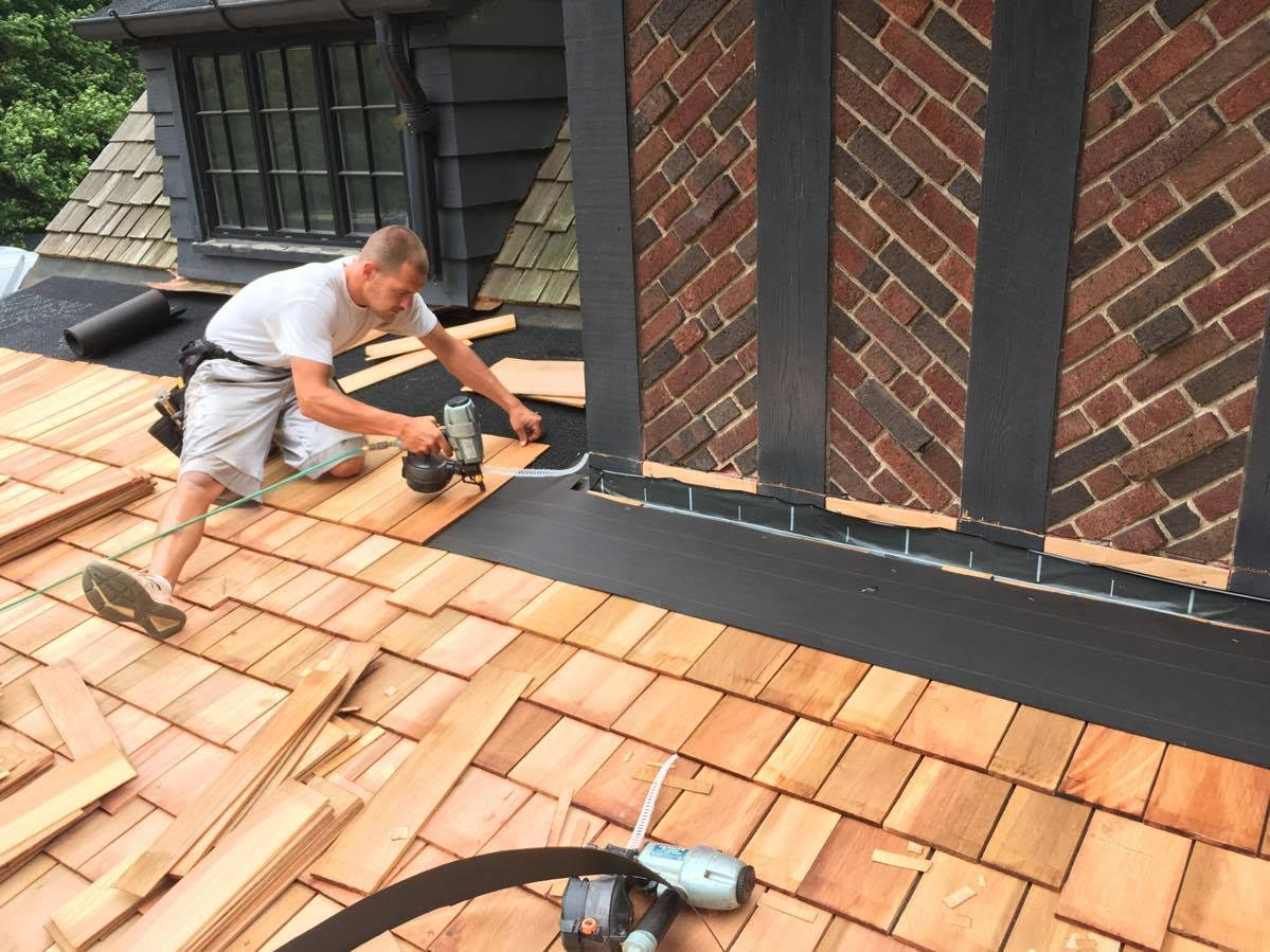 Construction Worker Roofing Wood Shingles Brick Nail Gun